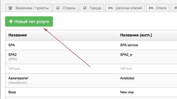 Возможность создания типов услуг в U-ON.Travel