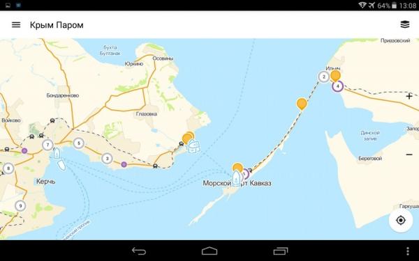 Карта Керченского пролива с информацией о паромах