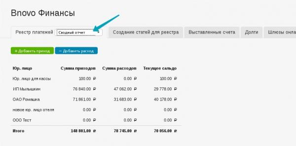 Учет приходов и расходов в Bnovo Финансы