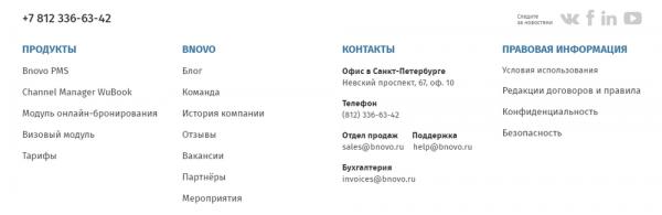 Меню в подвале новой версии главной страницы сайта Bnovo
