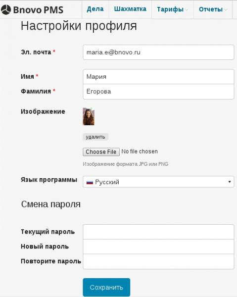 Пункт Язык программы в настройках пользовательского профиля