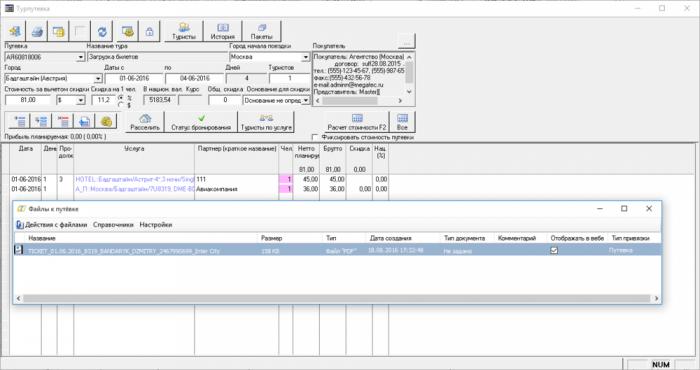 Просмотр выгруженного авиабилета с помощью дополнительного модуля Привязка файлов к путевке