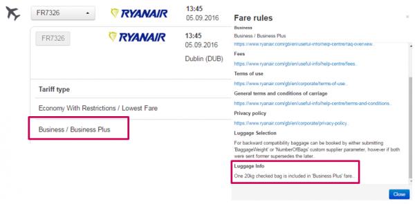 Тариф Business Plus авиаперевозчика Ryanair в Amadeus Content Rail & LCC