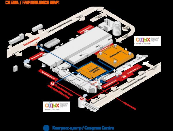 Схема расположения конгресс-центра в ЦВК Экспоцентр