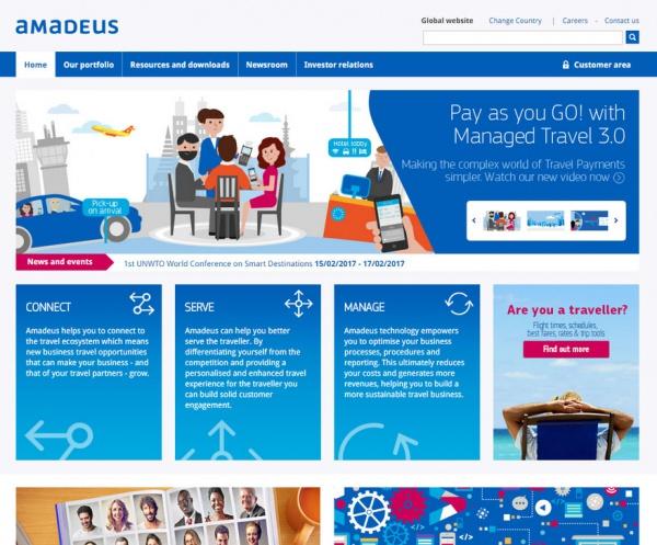 Главная страница глобального сайта компании Amadeus (http://amadeus.com)