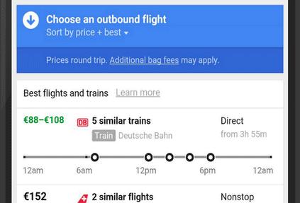 В Google Flights появилась функция по бронированию железнодорожных билетов