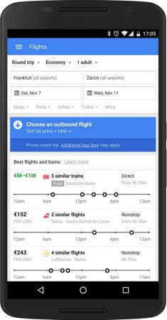 Google Flights с новой функцией по бронированию билетов на поезда