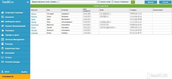 Клиентская база Frontdesk24