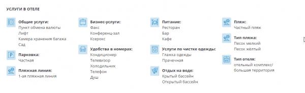 Список услуг в составе тура в обновленной карточке тура Слетать.ру
