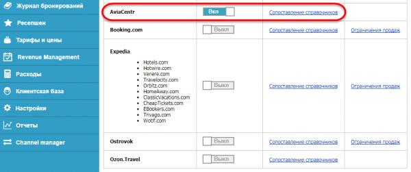 Включение канала AVIA-CENTR.RU в менеджере каналов Frontdesk24