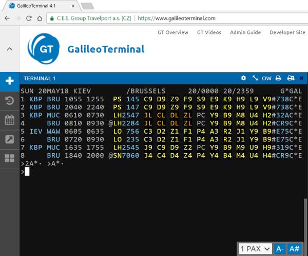 Экран наличия мест (Availability) в GalileoTerminal 4.1