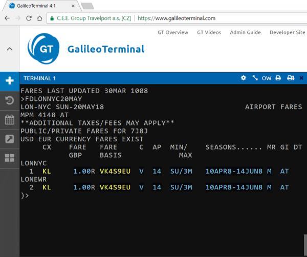 Экран тарифов (Fare Display) в GalileoTerminal 4.1